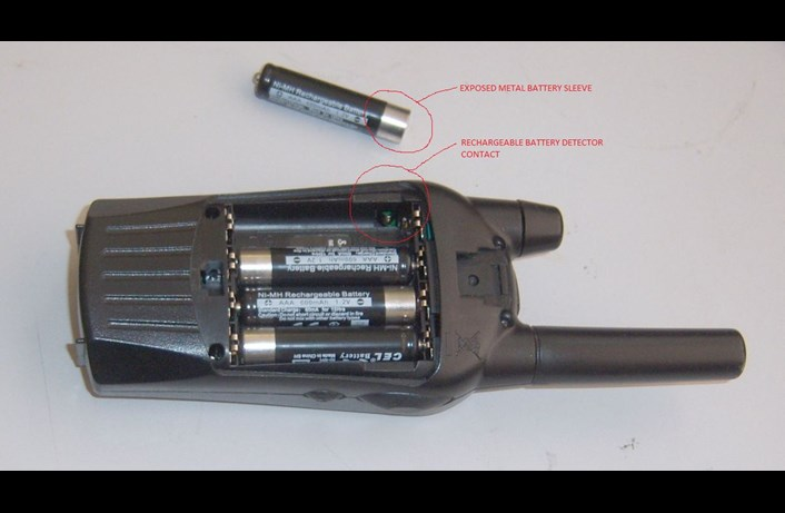 Cobra MT walkie-talkie battery compartment
