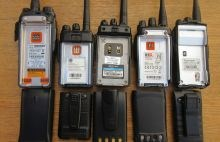 Photo of walkie-talkies showing spec. labels